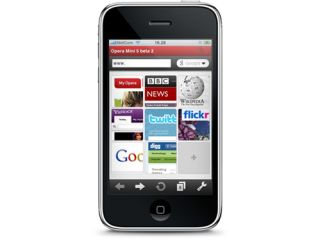 Opera Mini running on an iPhone