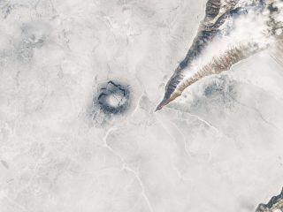 A satellite view of an ice ring on Lake Baikal. Is it the one true ring to rule them all?