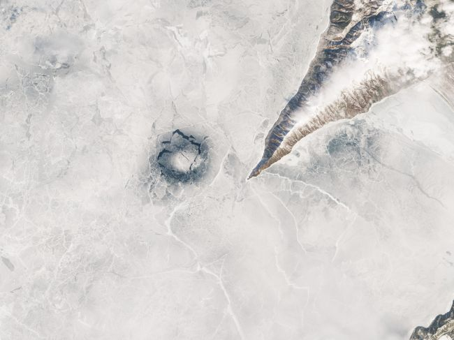 This satellite view of an ice ring on Lake Baikal is so impressive. Is it the one true ring to rule them all?