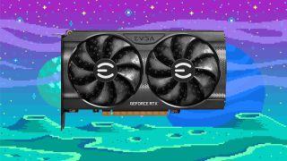 EVGA RTX 3060 GPU på en pixelart-bakgrunn