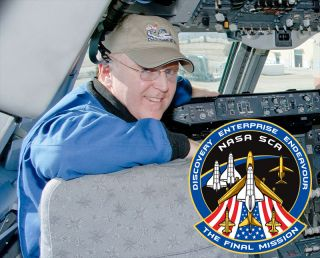 Pilot Jeff Moultrie in the captain's seat of NASA's Shuttle Carrier Aircraft. Moultrie designed a 'final mission' patch for his crew's shuttle museum deliveries, as shared with collectSPACE.com.