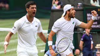 Djokovic vs Berrettin, komposittbilde av herrefinalen i Wimbledon