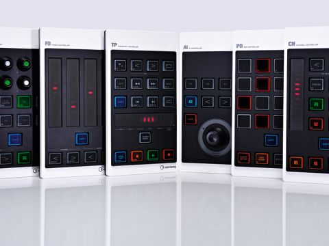 Steinberg's controllers, from left to right: CMC-QC Quick, CMC-FD Fader, CMC-TP Transport, CMC-AI AI, CMC-PD Pad and CMC-CH Channel.