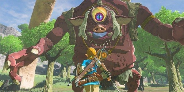 Link fights a cyclops in Breath of the Wild.