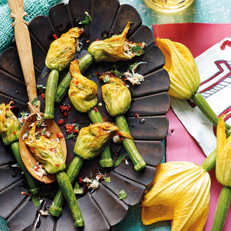 Spicy Crab Courgette Flowers.