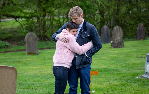 Robert and Victoria visit Jack's grave in Emmerdale