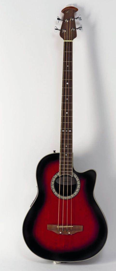 An acoustic bass with that classic Ovation bowlback design.