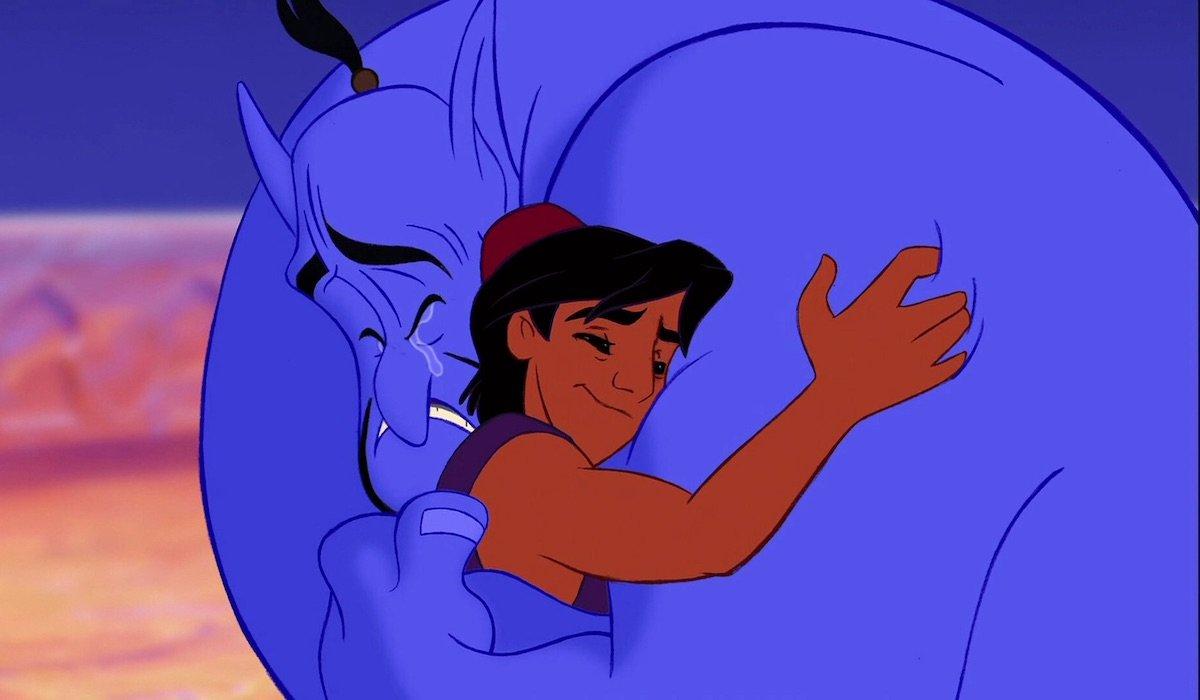 Genie and Aladdin hug in 1992 film