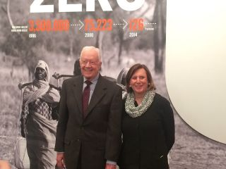 Former U.S. president Jimmy Carter and Ellen Futter, president of the American Museum of Natural History.