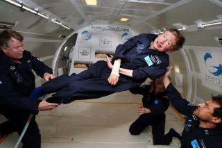 Stephen Hawking floats weightlessly aboard a Zero-G flight.