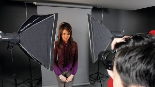 Studio lighting being used for portrait photography