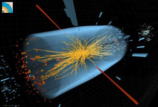 Particle collision tracks at LHC