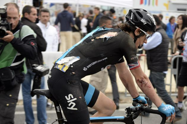 Geraint Thomas after a crash on stage seven of the 2014 Paris-Nice
