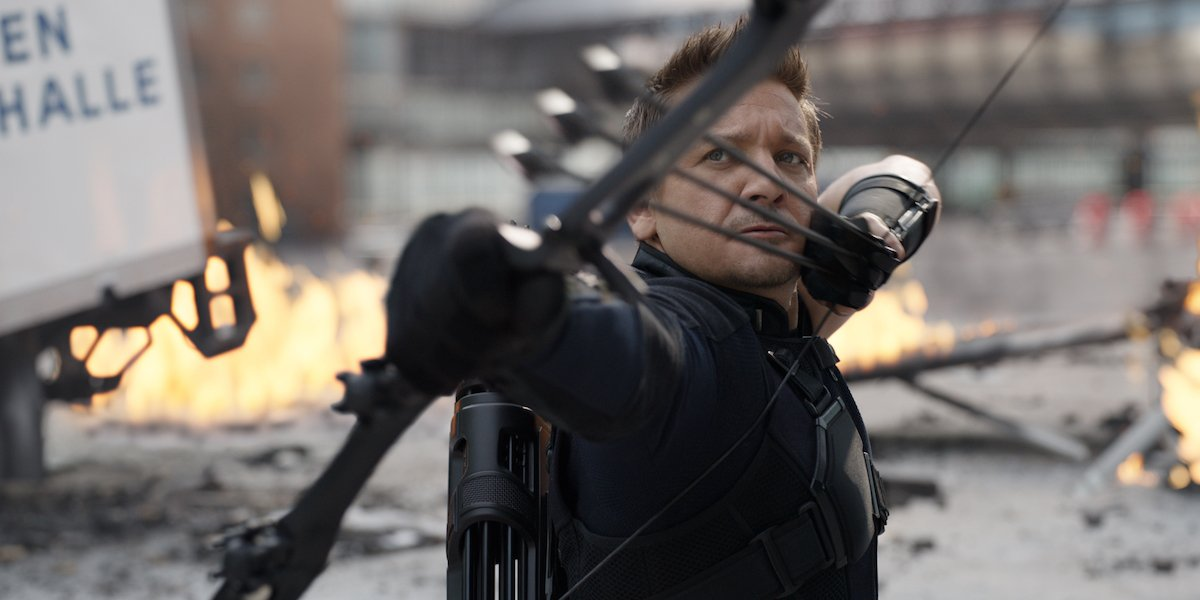 Jeremy Renner as Hawkeye in Captain America: Civil War