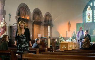 Eva Price walks out of Aidan's funeral