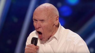 82-year-old man screaming into the microphone on America's Got Talent
