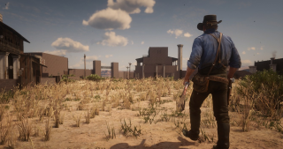 A cowpoke striding across the Mexican plains in Red Dead Online.