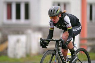 Mitchelton-Scott's Annemiek Van Vleuten en route to winning the 2020 Omloop Het Nieuwsblad