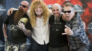 Kerry King, Dave Mustaine, Scott Ian and James Hetfield in 2010