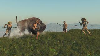 Digital illustration of Neanderthals hunting a bison with spears.