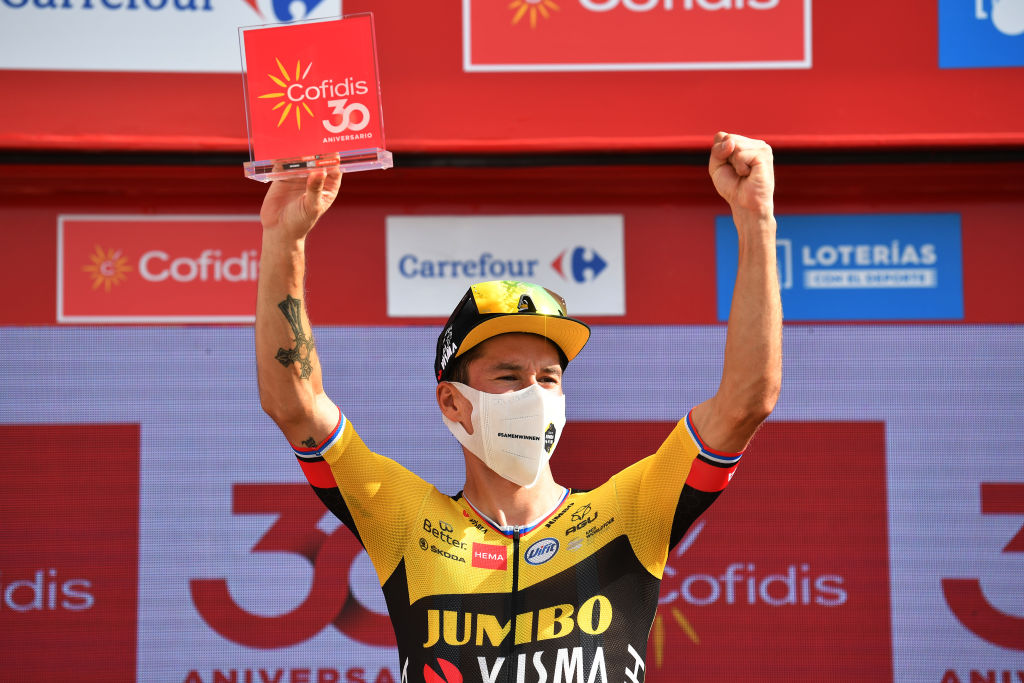 VALDEPEAS DE JAN SPAIN AUGUST 25 Primoz Roglic of Slovenia and Team Jumbo Visma during the 76th Tour of Spain 2021 Stage 11 a 1336km stage from Antequera to Valdepeas de Jan 1009m lavuelta LaVuelta21 on August 25 2021 in Valdepeas de Jan Spain Photo by Stuart FranklinGetty Images