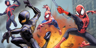 Various versions of Spider-Man swing into action.