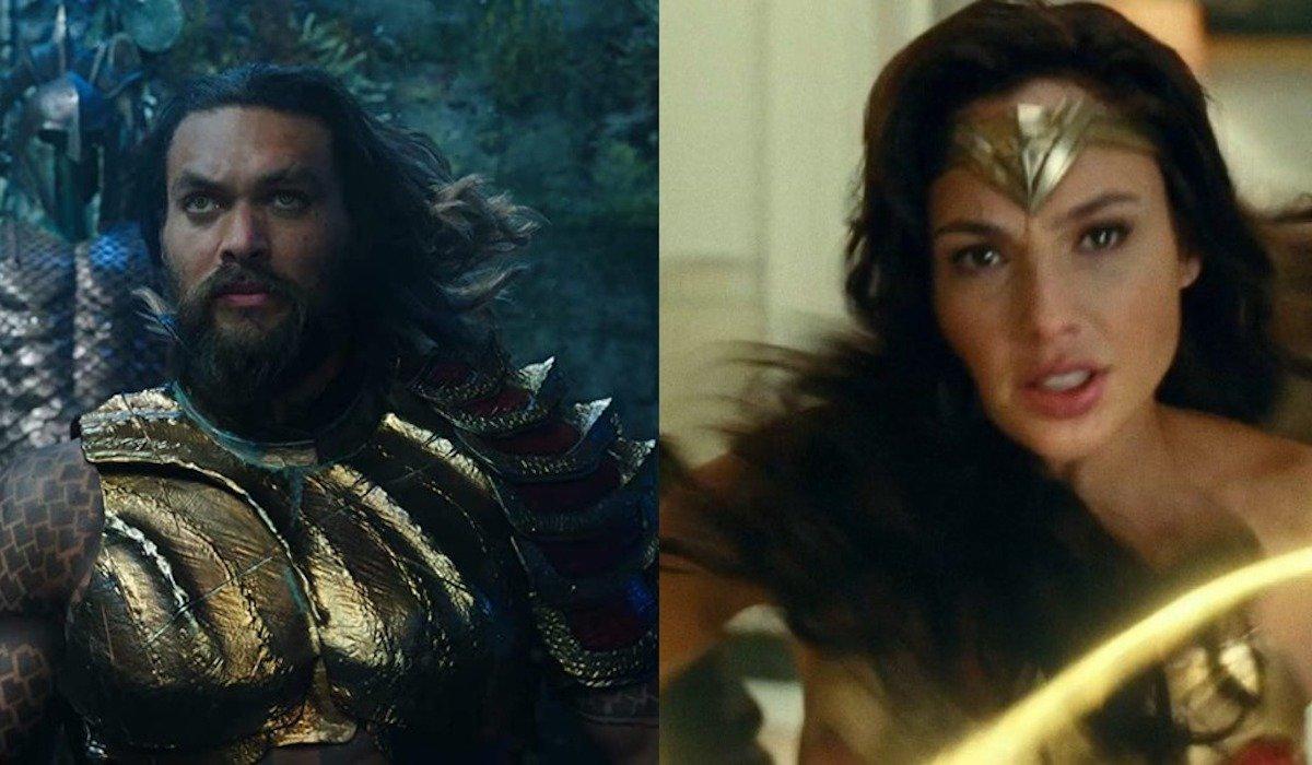 Jason Momoa as Aquaman and Gal Gadot as Wonder Woman