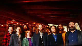 """We're gonna need a bigger bus…"" Rich Robinson (centre) and Marc Ford (far left) with The Magpie Salute"