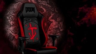 Noblechairs DOOM-inspired gaming chair on dark red background
