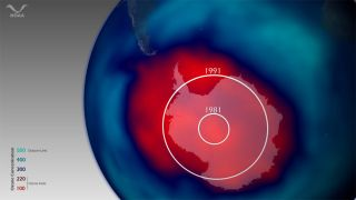 map showing ozone hole over the south pole