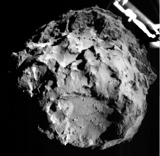 The Philae lander, part of the European Space Agency's Rosetta mission, captured this image of Comet 67P/Churyumov-Gerasimenko during Philae's descent toward the comet on Nov. 12, 2014, from a distance of about 2 miles (3.2 kilometers).