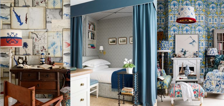 Blue and white decor ideas, home office, bedroom and living room