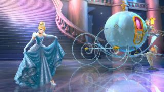 Cinderella curtseys next to her carriage