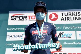 Jasper Philipsen (Alpecin-Fenix) on the podium at Tour of Turkey