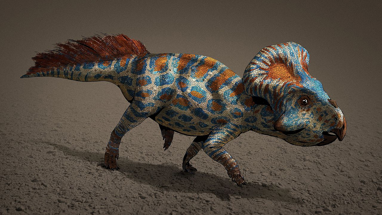 The neck frills of Protoceratops dinosaurs like the one in this illustration were likely a form of sexual selection.
