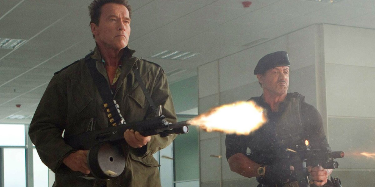 Arnold Schwarzenegger and Sylvester Stallone in The Expendables