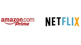 Amazon Prime and Netflix logos with swapped colour schemes