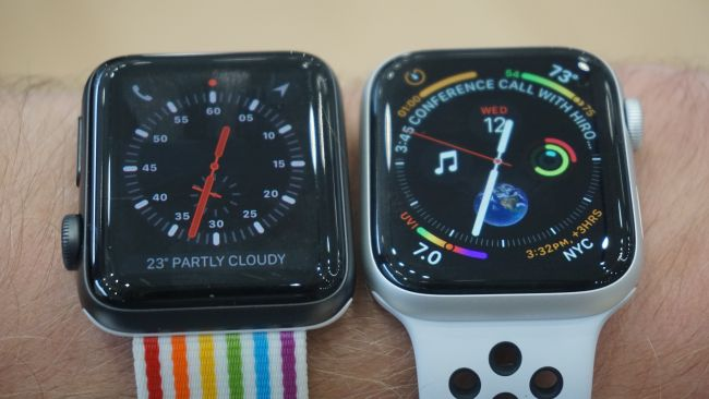 The 42mm Apple Watch 3, left, and 44mm Apple Watch 4, right