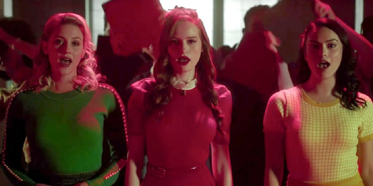 Betty, Cheryl and Veronica playing the lead roles in the Heather's themed episode of Riverdale.