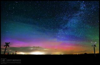 Northern Lights, Bootid Meteor and Milky Way Over Kansas