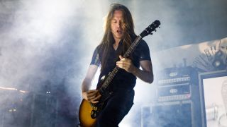 Guitarist Bill Steer of Carcass performs at The Warfield on March 23, 2016 in San Francisco, California.