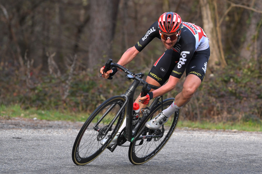BESSGES FRANCE FEBRUARY 05 Tim Wellens of Belgium and Team Lotto Soudal during the 51st toile de Bessges Tour du Gard 2021 Stage 3 a 1548km stage from Bessges to Bessges Breakaway EDB2020 on February 05 2021 in Bessges France Photo by Luc ClaessenGetty Images