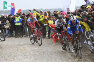 ROUBAIX FRANCE APRIL 14 Philippe Gilbert of Belgium and Team DeceuninckQuickStep Peter Sagan of Slovakia and Team BORA hansgrohe Nils Politt of Germany and Team KatushaAlpecin during the 117th ParisRoubaix a 257km race from Compigne to Roubaix ParisRoubaix ParisRoubaix PRBX LEnfer du Nord on April 14 2019 in Roubaix France Photo by Stephane ManteyPoolGetty Images