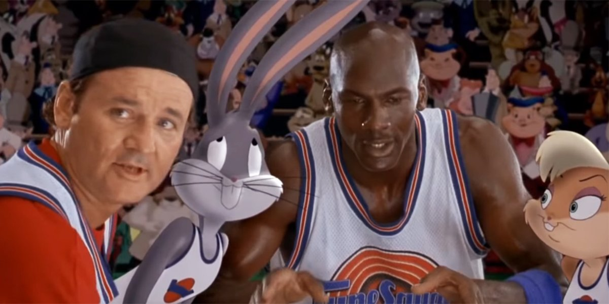 A team huddle in Space Jam