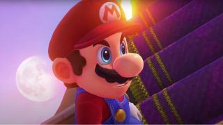 Mario staring at Bowser in Super Mario Odyssey
