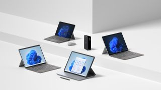 Images of the Surface Pro X, Surface Pro 8, Surface Laptop Studio, Surface Go 3 and Surface Duo 2