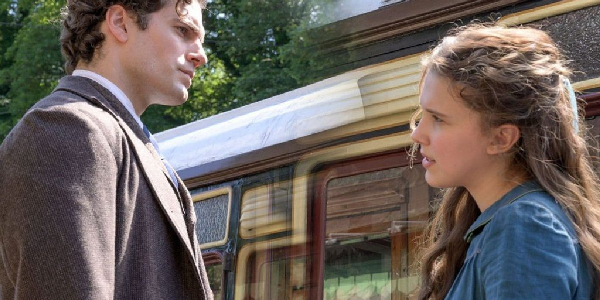 Henry Cavill and Millie Bobby Brown in Enola Holmes.