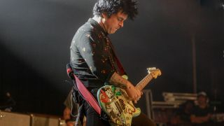 The Green Day singer, Billie Joe Armstrong, is seen during a concert at La Riviera in Madrid on October 30, 2019 in Madrid, Spain.