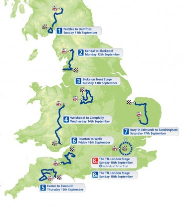 Tour of Britain 2011 route map