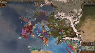 An image from EU 4 fantasy conversion mod Anbennar. It is of a fantasy continent with fictional nations.
